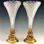 SOLD Pair of Antique French Gilt & Silvered Bronze Mounted Glass Vases, Figural Pheasant & Hen