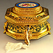 SOLD Antique French Gilt Bronze Ormolu Enamel Sevres Style Jewelry Casket / Box