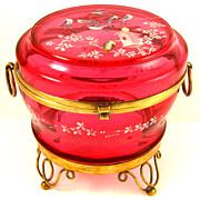 Antique Bohemian Raised Enamel Cranberry Glass Jewelry Casket / Box