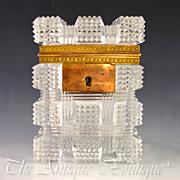 SALE Antique French Crystal Sugar Casket Box, Bronze Mounts