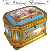 SOLD Large Rare Antique French Gilt Bronze Jewelry Casket Box, NINE Jeweled Kiln-Fired Enamel