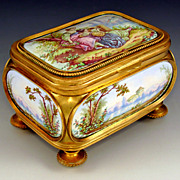SOLD Antique French Bronze Jewelry Casket, Box, Kiln-Fired Enamel on Copper Portrait Plaques