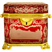 SALE Antique 19c Bohemian Ruby Glass Cut to Clear Engraved SPA VIEWS Jewelry Casket, Sugar Box
