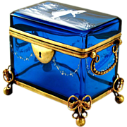 SALE Antique Mary Gregory Blue Glass Hand Painted White Enamel Jewelry Box Casket