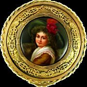 SALE Antique Hand Painted Signed WAGNER Hutschenreuther Porcelain Portrait Plaque, Gilt Bronze