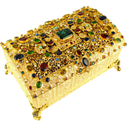 Antique Austrian Jeweled Encrusted Gilt Ormolu Hinged Jewelry Box / Casket