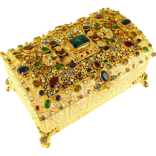 SALE Antique Austrian Jeweled Encrusted Gilt Ormolu Hinged Jewelry Box / Casket