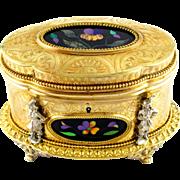SALE Antique French Pietra Dura Gilt Bronze Ormolu Jewelry Casket Box
