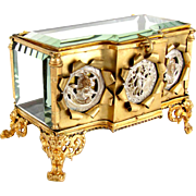 SALE Large Antique French Gilt Ormolu Thick Beveled Cut Glass Jewelry Box, Figural Silvered Br