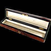 Antique French Napoleon III Era Burl Wood Inlaid Fan Box, Casket