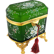 SALE Antique French Hand Painted Enamel Cut Glass Gilt Ormolu Jewelry Casket Box