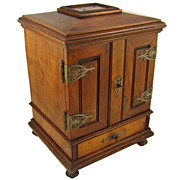 SOLD Antique Victorian 19c Hand Carved Cigar Caddy Chest, Lockable Front Doors & Drawer