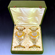 SOLD Pair of Antique 19c French  Cut Crystal Vases, Gilt Bronze Mounts, In Presentation Box