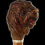 SOLD Antique Hand Carved Solid Wood Figural Cane Handle, Dog, Glass Eyes