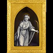 SALE Antique French Limoges Enamel on Copper Grisaille Miniature Portrait Plaque, Gilt Bronze