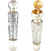 RARE Antique French Sterling Silver Traveling / Opera Liquor Flask & Snuff Box Combination, Cut Glass 'Spirits' Flask