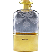 English Sterling Silver Gilt Vermeil Cut Engraved Glass Liquor Flask / Whiskey Hip Flask, Lond