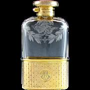 Antique English Sterling Silver Gilt Vermeil Cut Glass Liquor / Whiskey Hip Flask, London 1910