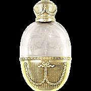 SALE Antique French Sterling Silver Gilt Vermeil Engraved Intaglio Cut Glass Liquor Whisky Hip