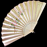 SOLD Large Antique French Silk Fan, Hand Painted Pink Roses