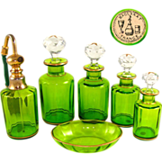 SOLD 6pc Antique French Baccarat Cut Crystal Vanity Set, Perfume Bottles