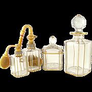 SALE 4pc Antique French Cut Crystal Vanity / Dresser Set