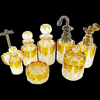 SALE 8pc Val Saint Lambert Crystal Valembert Pattern Dresser / Vanity Perfume Bottle Set
