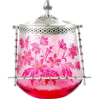 SALE Signed Antique French Saint Louis Cameo Glass Cranberry Floral Cookie Jar / Biscuit Jar