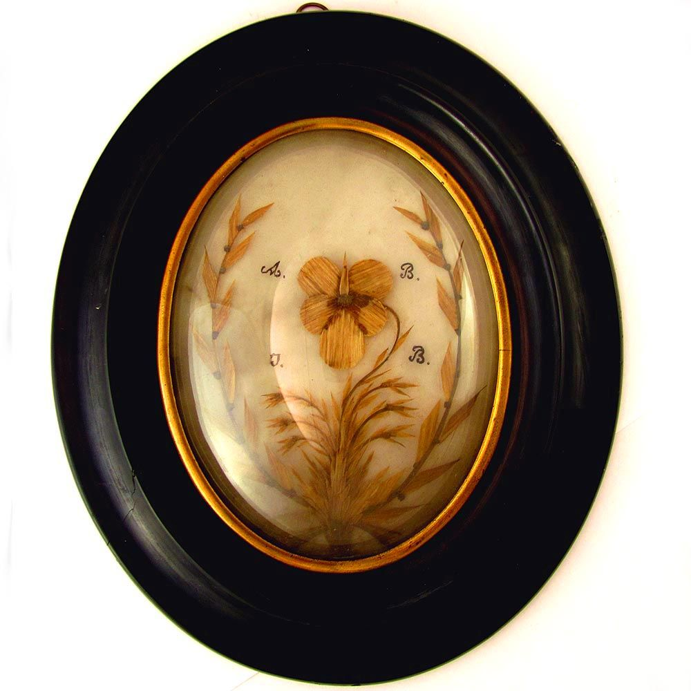 Antique French Mourning Hair Art Work Memento Portrait, Bombe Glass & Wooden Frame
