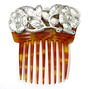 SOLD Vintage Danish Art Nouveau Skornvirke .830 Silver Mounted Hair Comb