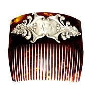 SALE Antique Edwardian English Sterling Silver Hair Comb, Birmingham 1903