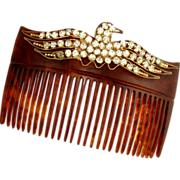 SALE Antique Victorian/Edwardian Hair Comb Accessory, Eagle Motif, Rhinestone Jewels