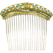 SOLD Antique French .800 Silver Gilt Vermeil Empire Turquoise Jeweled Hair Comb Diadem