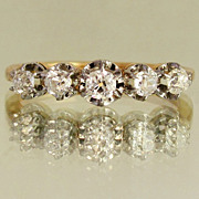 SOLD French 18K Gold Old Mine Cut Diamonds Ring, Eagle Hallmark