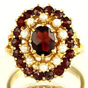 SALE 14K Gold Garnet & Cultured Pearl Ladies Cluster Cocktail Ring, Sz 9