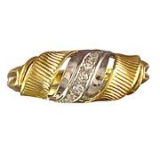 SALE Retro Diamond 14K Yellow & White Gold Swirled Ring