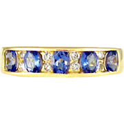 Channel Set Genuine Tanzanite And Diamond 14K Gold Lady's Band Ring