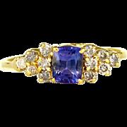SALE Genuine Tanzanite & Diamond Accented 14K Gold Lady's Solitaire Ring