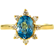 SOLD Genuine Blue Topaz & Diamond Halo 14K Gold Lady's Solitaire Ring