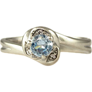 SALE Vintage Aquamarine & Diamond 18K White Gold Lady's Solitaire Engagement Ring