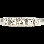 SALE Gorgeous 14K White Gold Diamond Set Wedding Band Ring, Heart Gallery