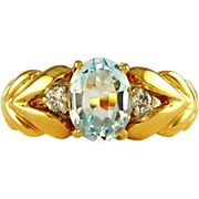 SALE Genuine Blue Topaz & Diamond Accented 14K Gold Lady's Ring