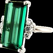 SALE Chrome Green Tourmaline & Diamond 18K White Gold Cocktail Ring