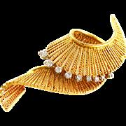 SALE French 18K Yellow Gold & Diamond Swirl Brooch Pin