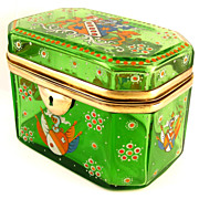 Antique Bohemian Enamel Coat-of-Arms & Cut Glass Jewelry Box / Sugar Casket