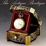 SOLD Antique French Signed Giroux Paris Pocket Watch Holder Box with Boulle Style Inlay