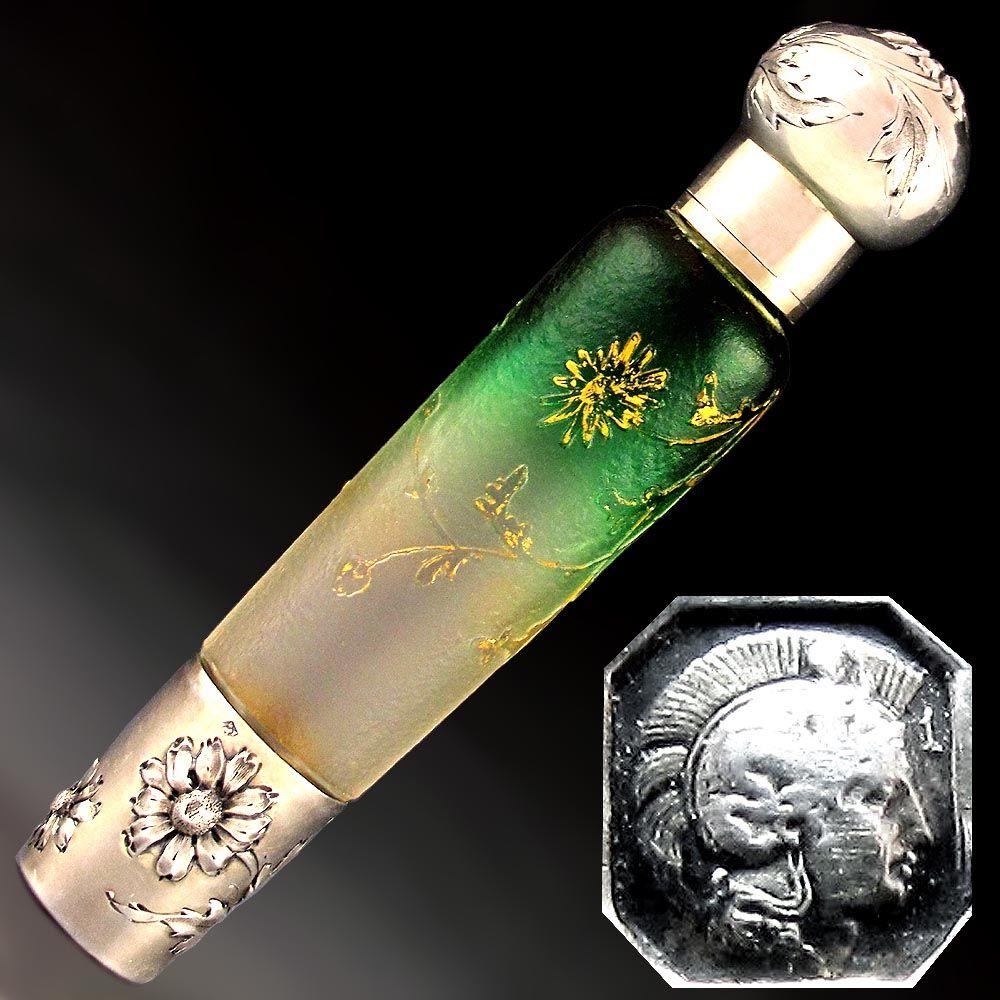 Antique Art Nouveau French Sterling Silver Nancy Daum Glass Portable Liquor Flask, Bottle