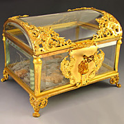 SOLD Antique French Cut Crystal Gilt Bronze Ormolu Jewelry Casket , Box, Dome Lid