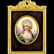 SALE Antique French Enamel on Copper Miniature Portrait Plaque, Gilt Bronze Frame