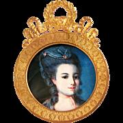 SALE Antique French Napoleon III Gilt Bronze Round Picture / Portrait Frame